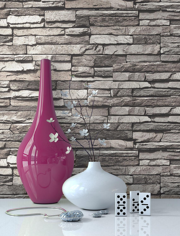 steintapete vlies steine mauer tapeten wand ziegel klinker design 3d optik neu ebay. Black Bedroom Furniture Sets. Home Design Ideas