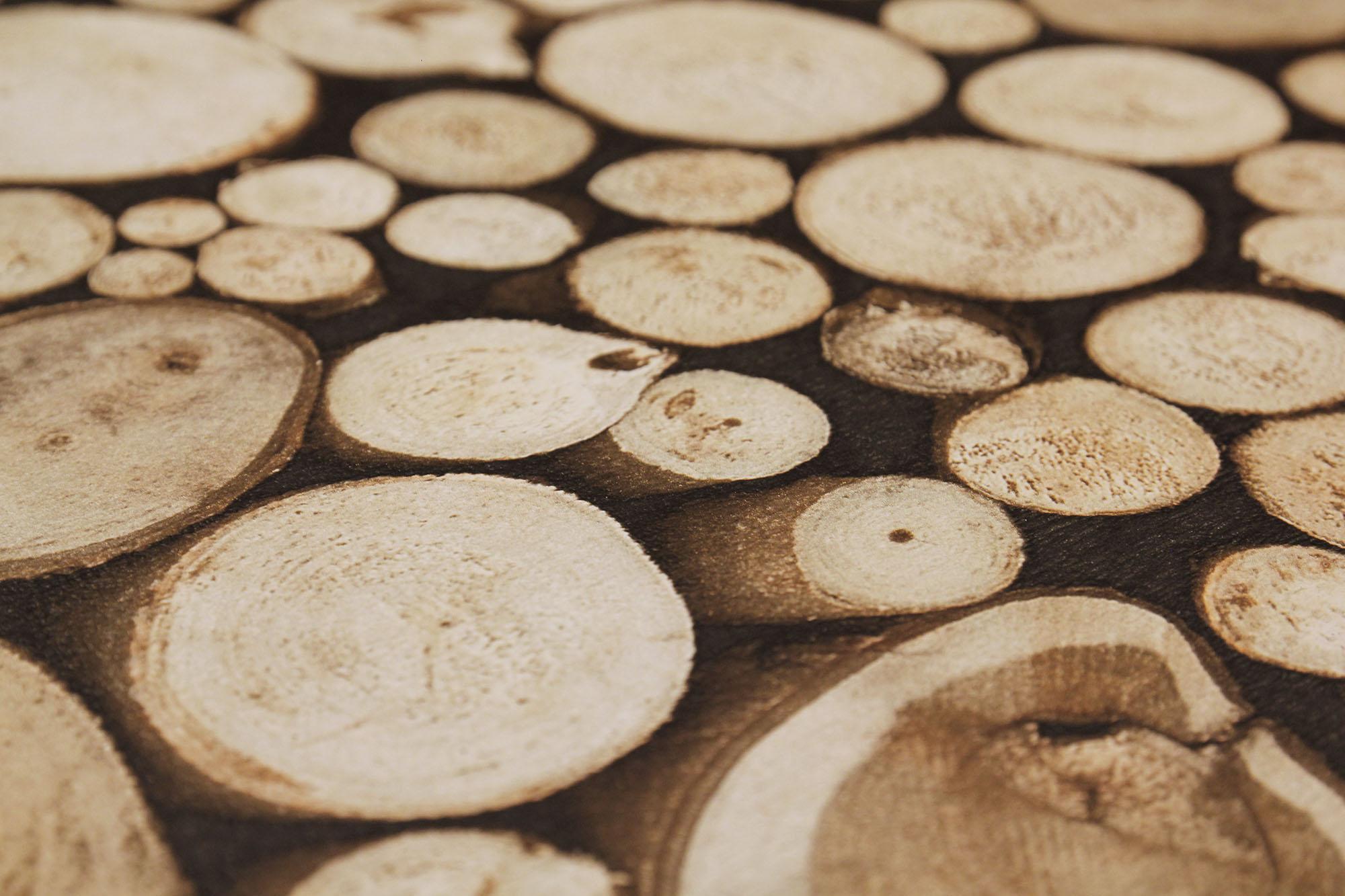 Tapete Holz Muster Design beige braun Baumstamm skandinavisch Tapeten NEU  eBay