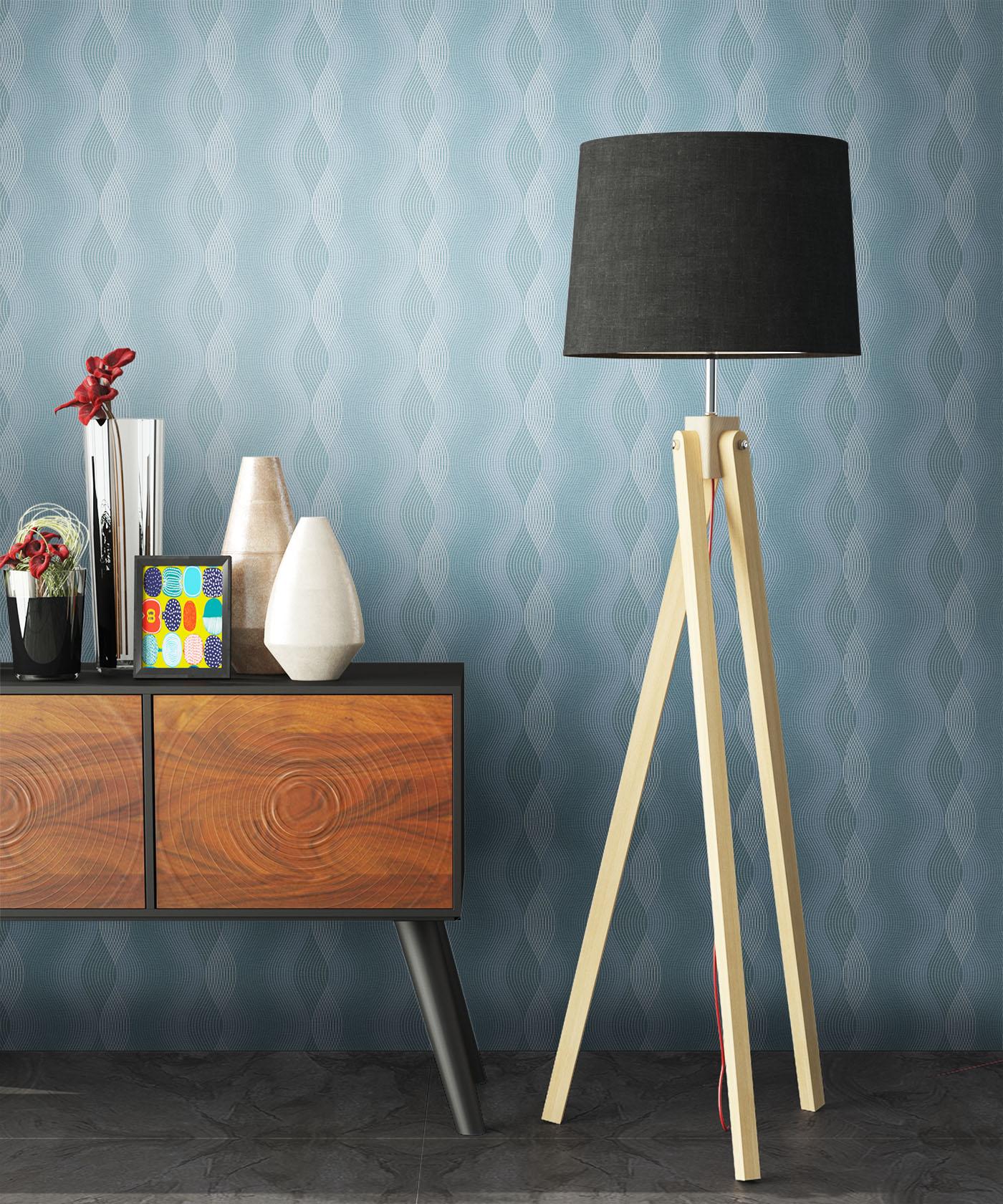 newroom tapete blau grafik modern streifen vlies wei 3d. Black Bedroom Furniture Sets. Home Design Ideas