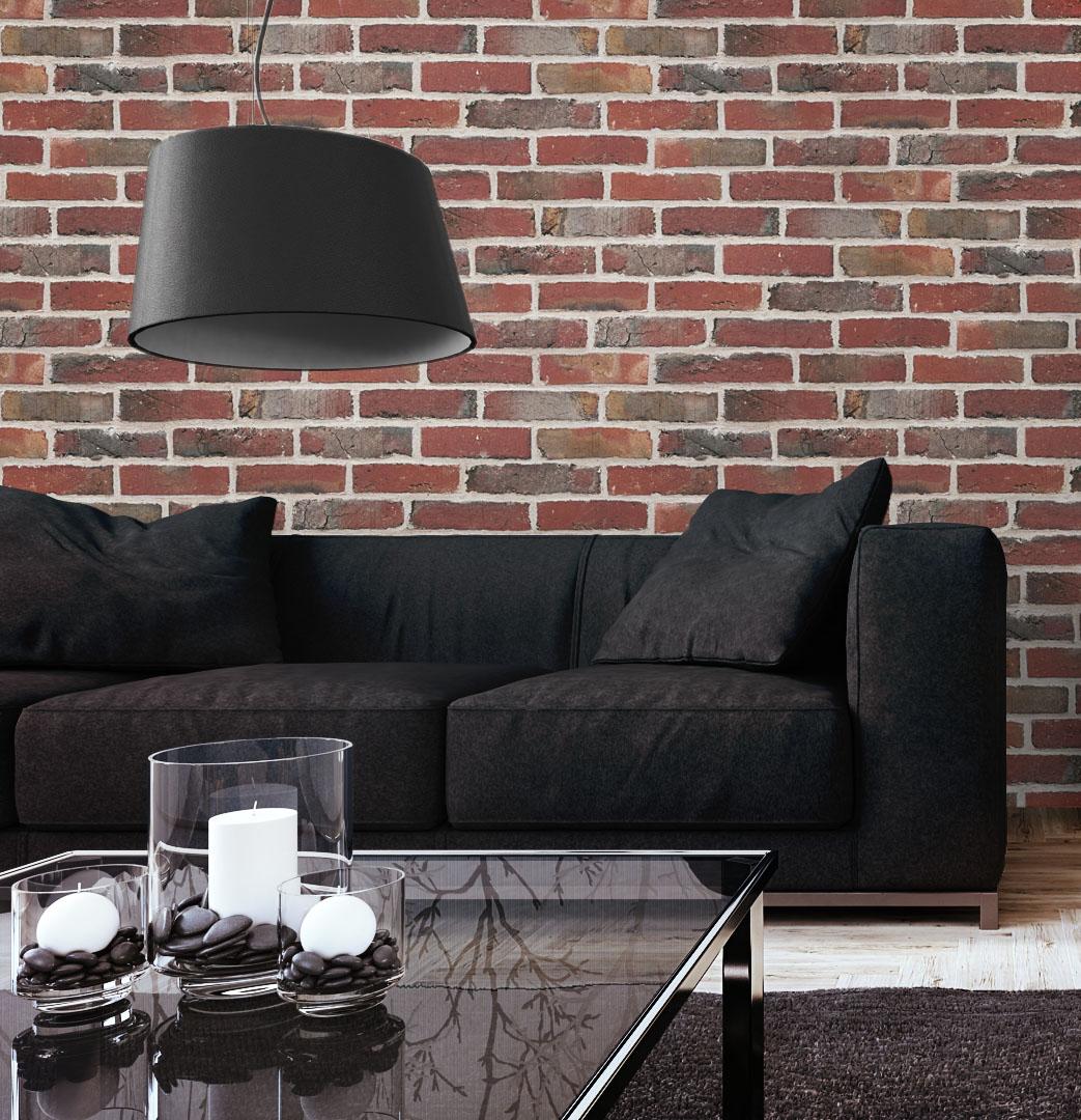 tapete stein steinwand vlies mauer klinker backstein rot wand 3d optik neu ebay. Black Bedroom Furniture Sets. Home Design Ideas