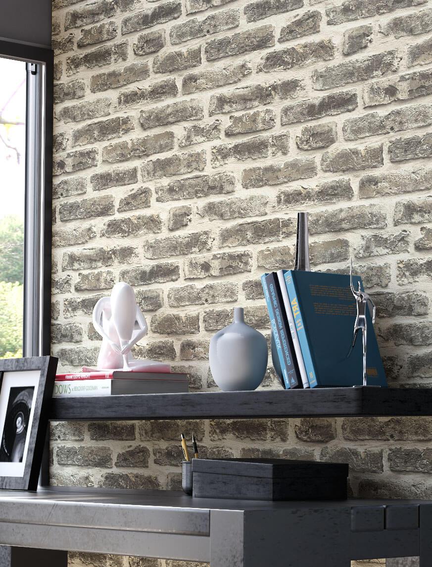 Tapete stein steinwand vlies mauer anthrazit klinker for Tapete mauerwerk