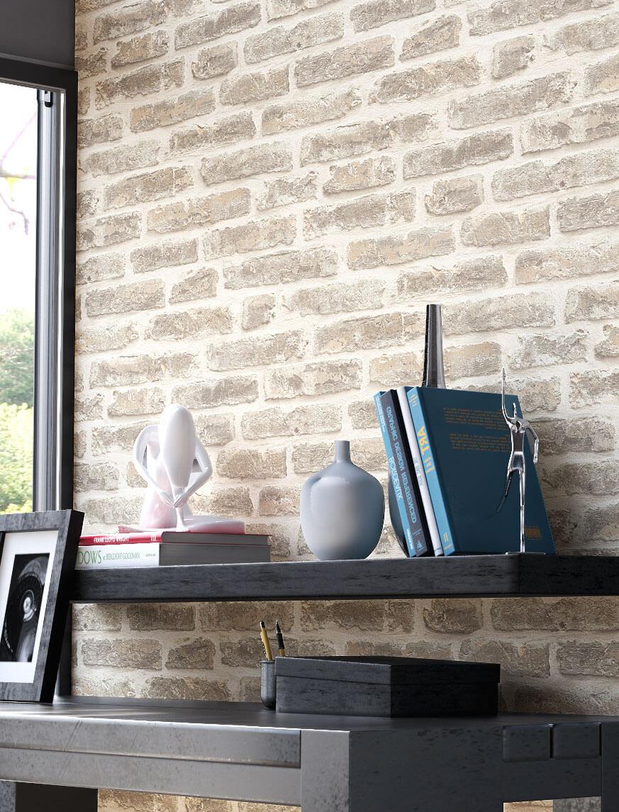 tapete stein steinwand vlies mauer creme klinker backstein wand 3d optik neu ebay. Black Bedroom Furniture Sets. Home Design Ideas