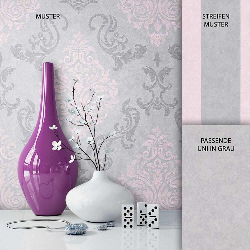 Tapete Vlies Barock Grau Rosa Dekoration ...