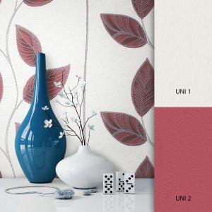 Pflanzentapete Weiß Rot