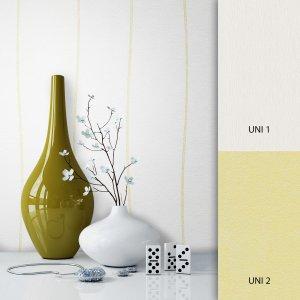 Streifentapete Weiß Gelb
