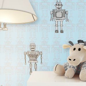 Kindertapete Blau Roboter Muster Deko
