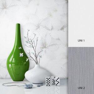 Blumentapete Weiß Grau