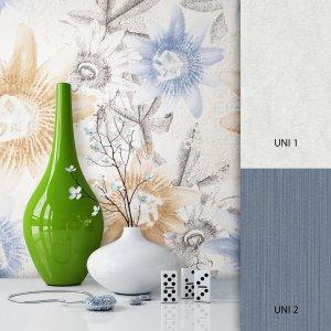 Blumentapete Weiß Blau