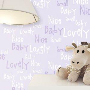 Kindertapete Schrift Baby Kinder Stofftier