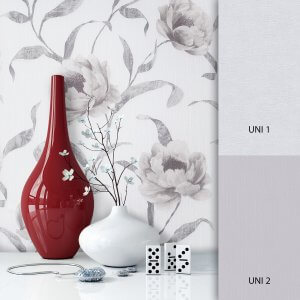 Blumentapete Grau Braun