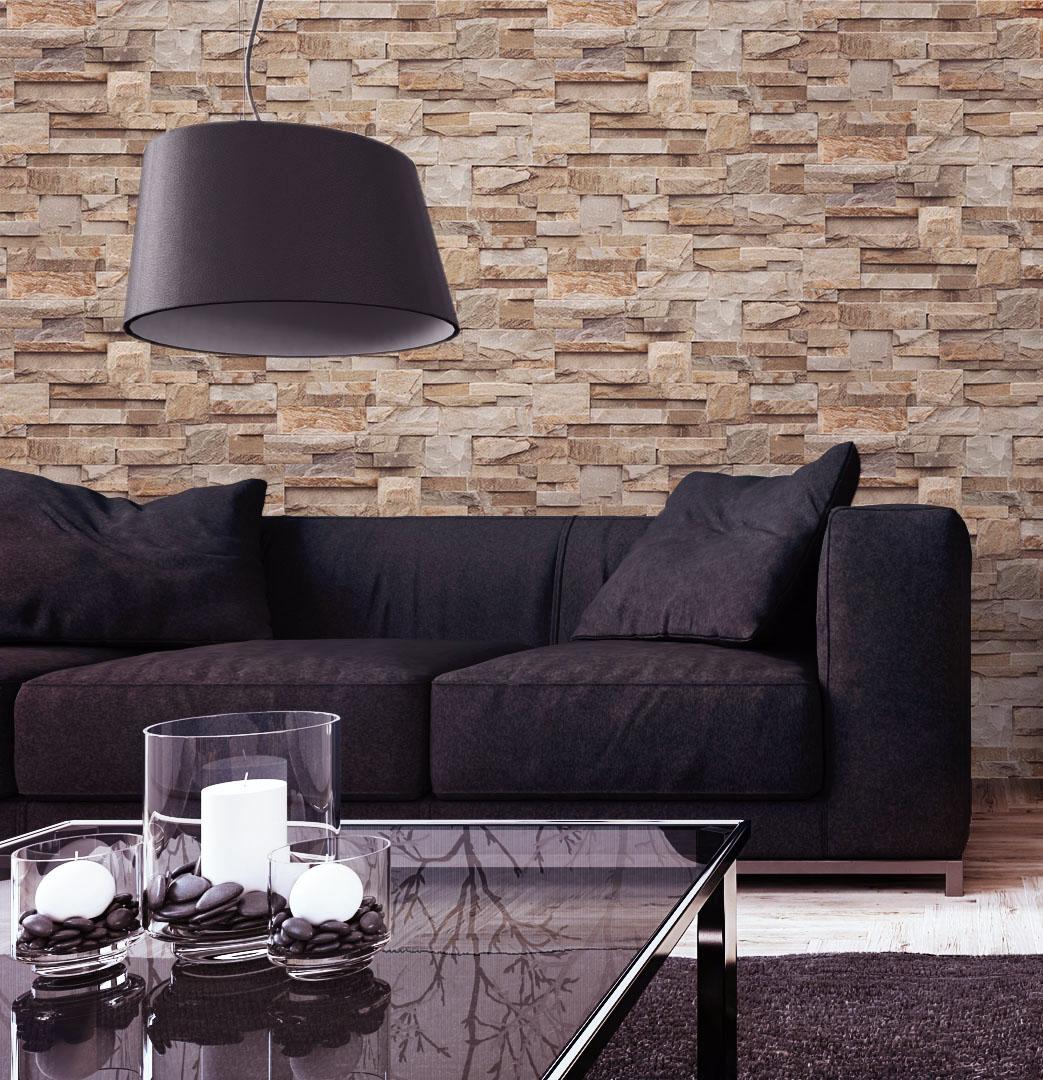 tapete stein steinwand vlies mauer beige fototapete klinker wand 3d optik neu ebay. Black Bedroom Furniture Sets. Home Design Ideas