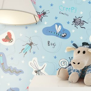 Kindertapete Insekten Blau Jung Deko