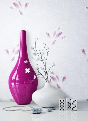 Tapete Vlies Grau Violett Blume Dekoration