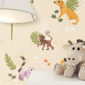 Kindertapete Grafik Muster Tiere Beige Deko