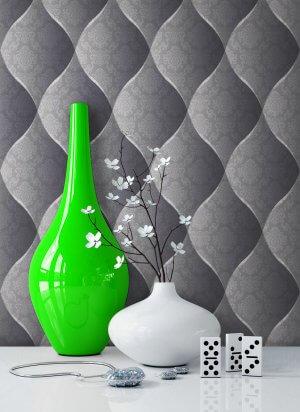Vliestapete Vinyl Floral Barock Anthrazit Vase