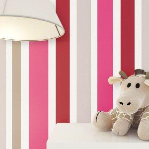 Kindertapete Pink Rot Beige Streifen Deko