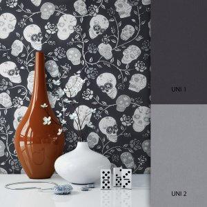 Blumentapete Schwarz Grau
