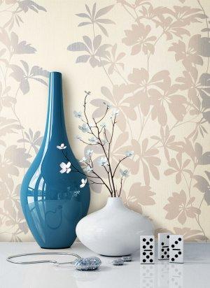 Tapete Blau Braun Blumen Muster Deko