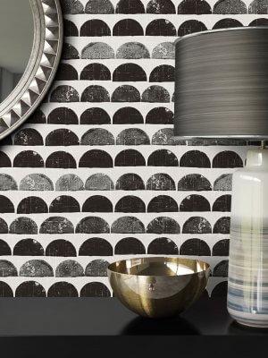 Tapete Schwarz Grau Grafik Muster Deko