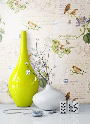 Vintage Tapete, Vögel, Blumen, Natur