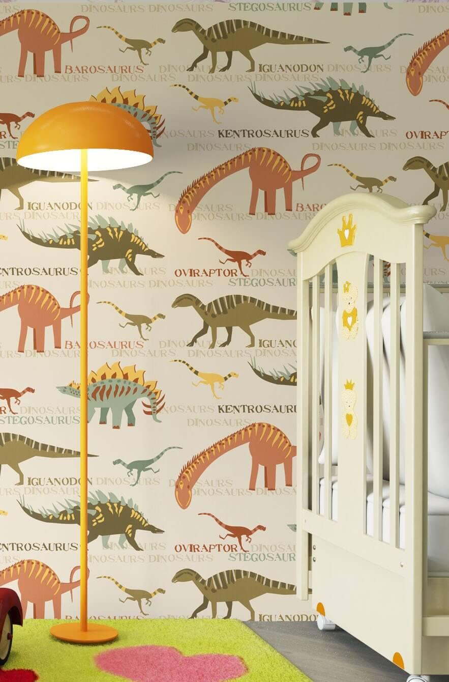 kinderzimmer tapete dino bibkunstschuur. Black Bedroom Furniture Sets. Home Design Ideas