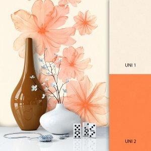 Blumentapete Beige Orange