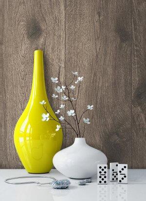 Holztapete Vlies Braun Grau Vase