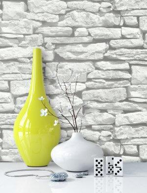 Steintapete Weiß