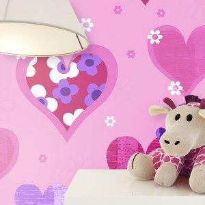 Kindertapete Pink Herzen Blumen Stofftier