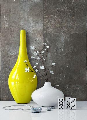 Tapete Metall Grau Vlies Vase