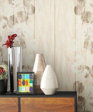 Tapete Vlies Holz Blumen Muster Dekoration