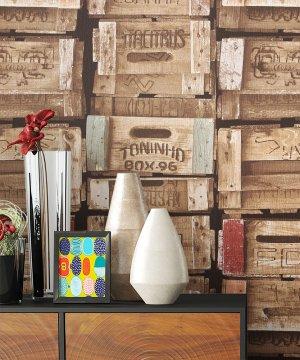 Tapete Holz Kisten Optik Dekoration