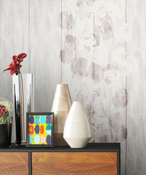 Tapete Vlies Holz Blumen Dekoration