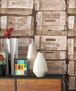 Tapete Vlies Holz Kisten Optik Dekoration