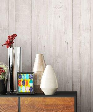 Tapete Vlies Creme Holz Optik Dekoration