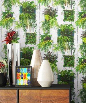 Tapete Natur Holz Dekoration Grün Flora Pflanzen
