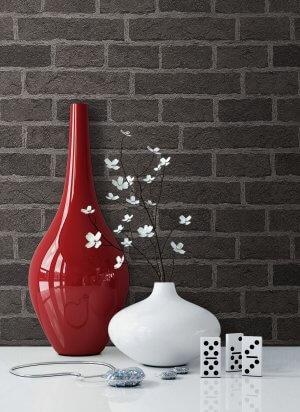 Tapete Klinker Dunkler Stein Vase