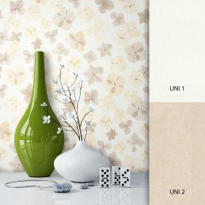 Blumentapete Weiß Beige
