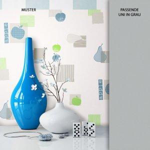 Tapete Vlies Blau Apfel Birne Muster Dekoration