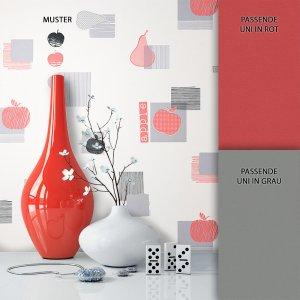 Tapete Vlies Rot Apfel Birne Muster Dekoration