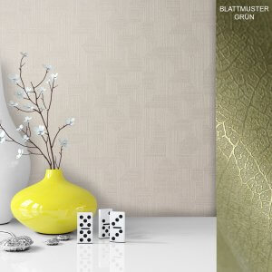 Tapete Vase Deko Vlies Vinyl Weiß Grün