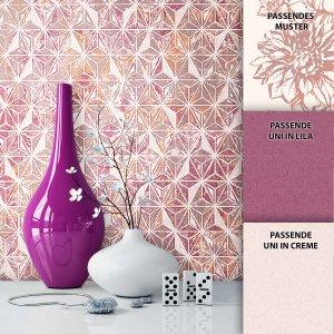 Tapete Graphic Dekoration Lila Beige Creme