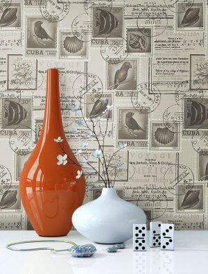 Briefmarke, Vögel, Tapete, Vase