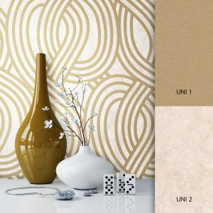 Muster tapete beige gold