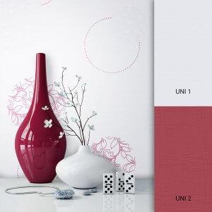 Blumentapete weiß rot