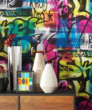 Tapete Graffiti Bunt Deko