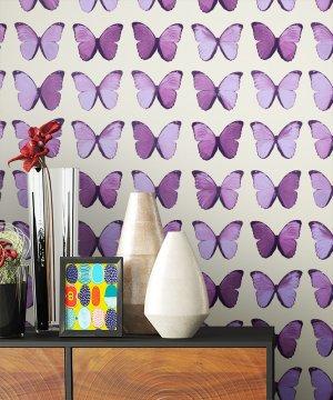 Tapete Lila Schmetterlinge Deko