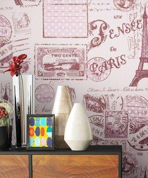 Tapete Stadt Paris Dekoration Pink Rose Lila