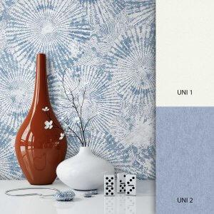 Mustertapete Weiß Blau