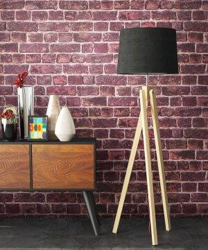 Tapete Stein Rot Sideboard Lampe